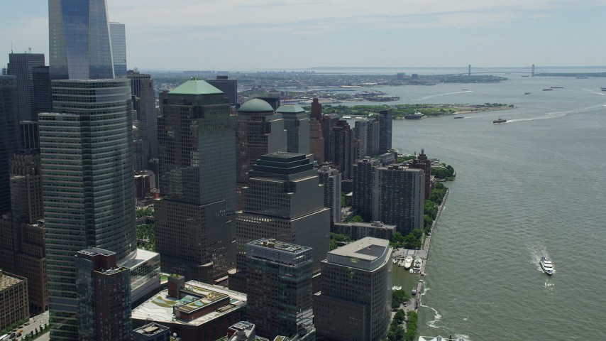 5K stock footage aerial video flying by World Trade Center skyscrapers, Lower Manhattan, New York City Aerial Stock Footage | AX83_167