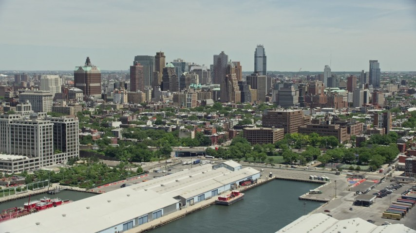 5K stock footage aerial video of skyscrapers and high-rises in the downtown area of Brooklyn, New York City Aerial Stock Footage | AX83_177