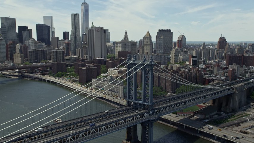 5K stock footage aerial video of light traffic on the Manhattan Bridge in New York City Aerial Stock Footage | AX83_187