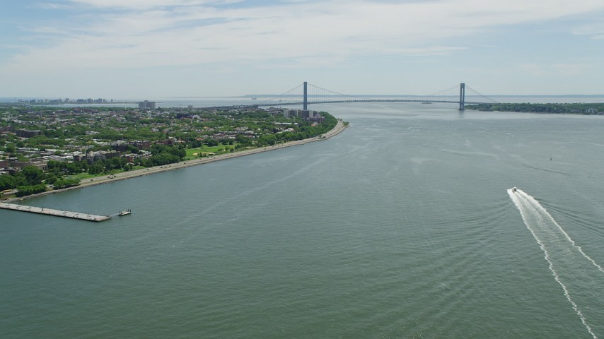 5K stock footage aerial video approaching Shore Parkway and Verrazano-Narrows Bridge, New York Harbor Aerial Stock Footage | AX83_204