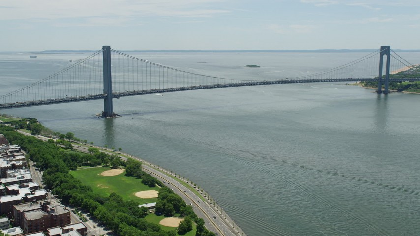 5K stock footage aerial video approaching the Verrazano-Narrows Bridge, New York City Aerial Stock Footage | AX83_207