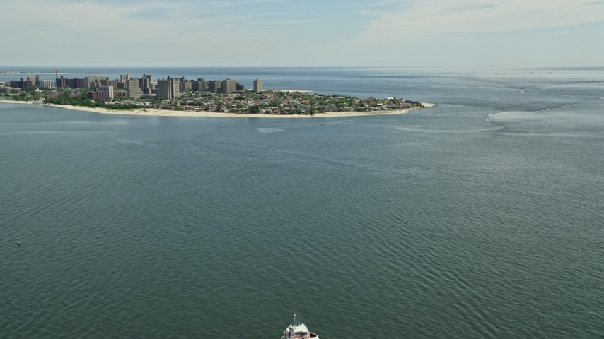 5K stock footage aerial video approaching Coney Island, Brooklyn, New York City Aerial Stock Footage | AX83_209