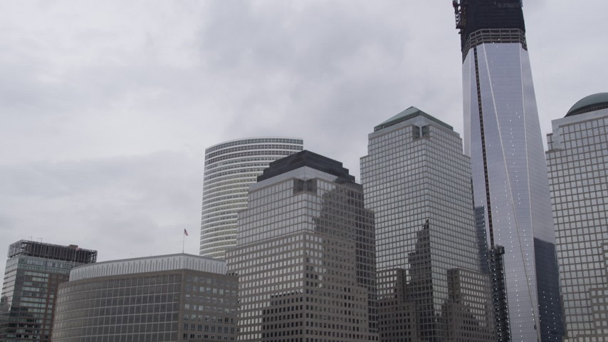 4K stock footage aerial video Flying by World Trade Center buildings, Lower Manhattan, New York, New York Aerial Stock Footage | AX84_016