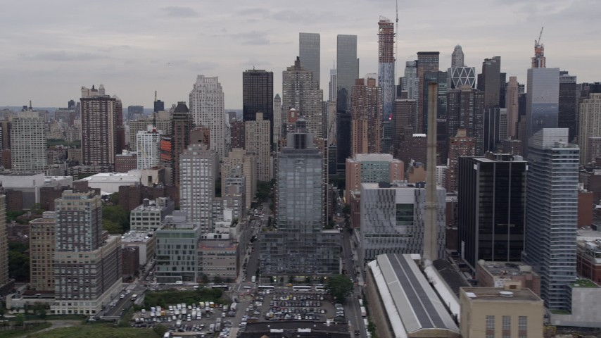 4K stock footage aerial video Flying by Upper West Side skyscrapers, New York, New York Aerial Stock Footage | AX84_026