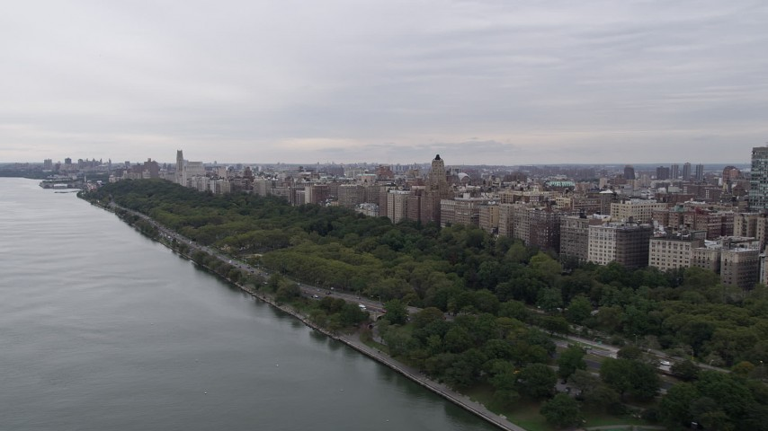 4K stock footage aerial video Flying by Riverside Park, Upper West Side, New York, New York Aerial Stock Footage | AX84_032