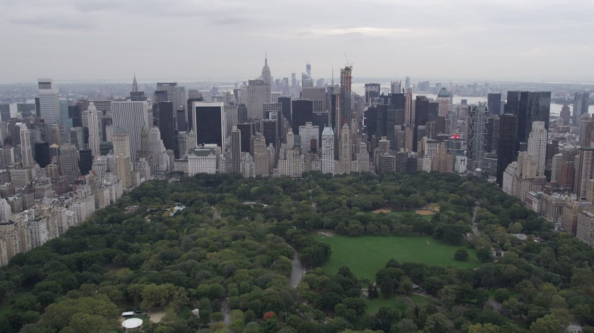 4K stock footage aerial video Approaching Midtown Manhattan, from over Central Park, New York, New York Aerial Stock Footage | AX84_045