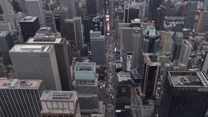 4K stock footage aerial video Flying over Times Square, Midtown Manhattan, New York, New York Aerial Stock Footage | AX84_050