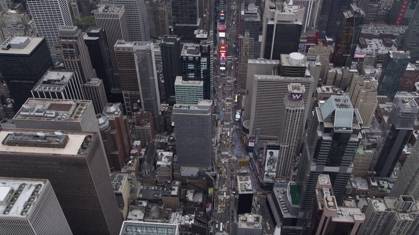 4K stock footage aerial video Flying over 7th Avenue, Times Square, Midtown Manhattan, New York, New York Aerial Stock Footage | AX84_051