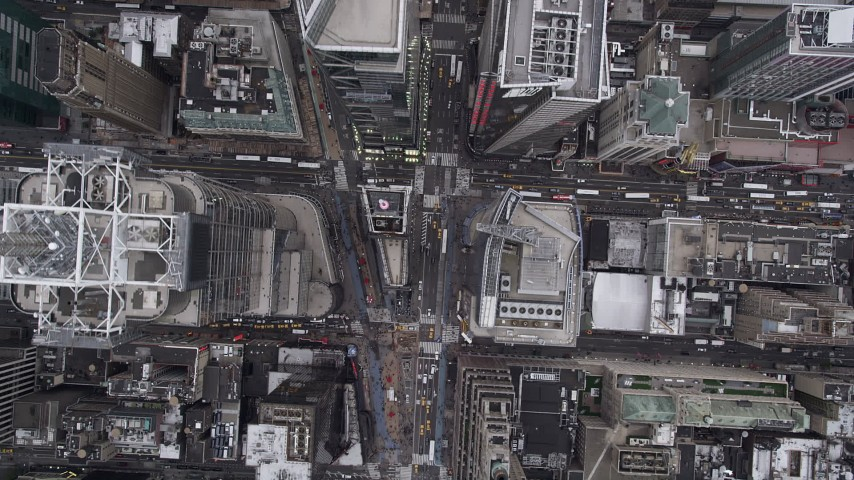 4K aerial video Flying over 7th Avenue, Times Square, Midtown Manhattan, New York, New York Aerial Stock Footage | AX84_053
