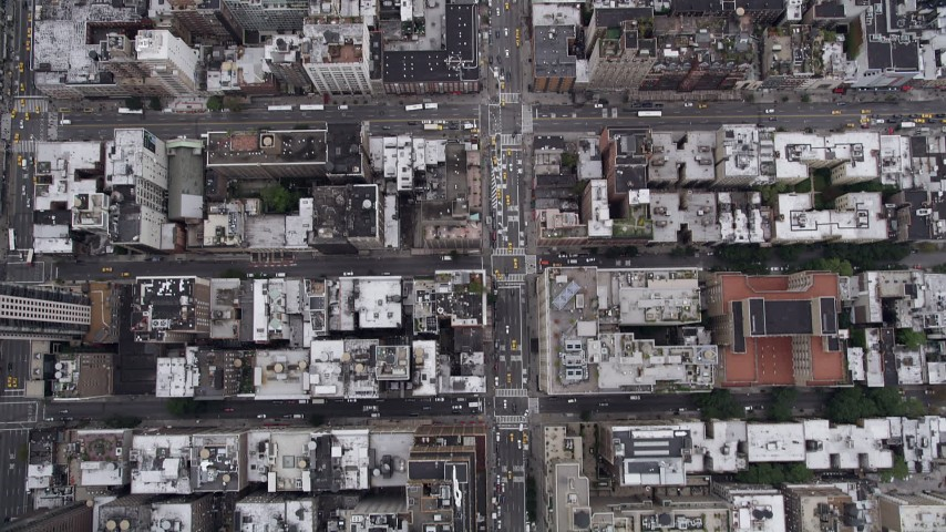 5k aerial video Bird's eye view flying over 7th Avenue, Chelsea, New York, New York Aerial Stock Footage | AX84_054