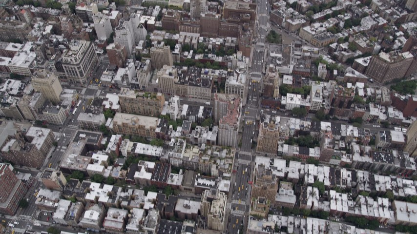 4K stock footage aerial video Flying over Chelsea, revealing Lower Manhattan, New York, New York Aerial Stock Footage | AX84_055