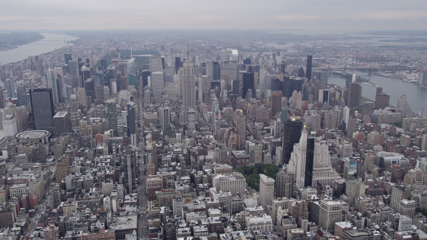 4K stock footage aerial video Flying by Midtown Manhattan, New York, New York Aerial Stock Footage | AX84_057
