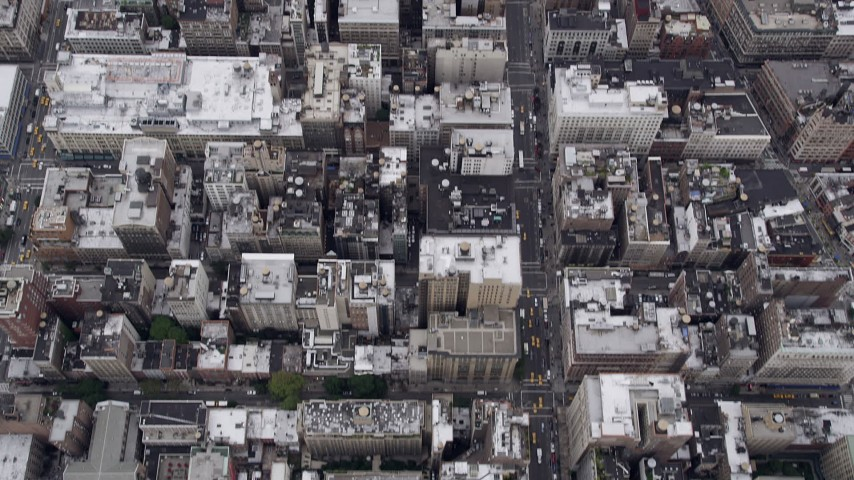 4K aerial video Midtown Manhattan, Empire State Building, skyscrapers, New York, New York Aerial Stock Footage | AX84_058