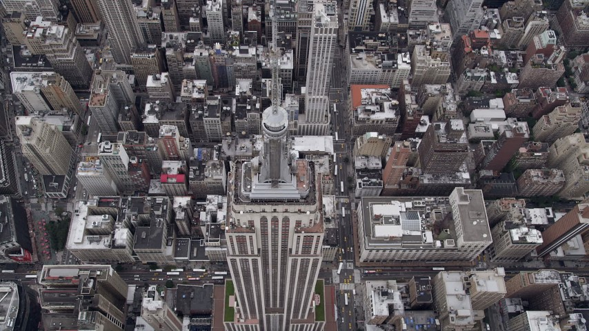 Flying over Empire State Building, Midtown Manhattan, New York, New York Aerial Stock Footage | AX84_063