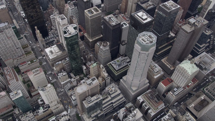 4K stock footage aerial video Flying over Midtown Manhattan skyscrapers, New York, New York Aerial Stock Footage | AX84_064