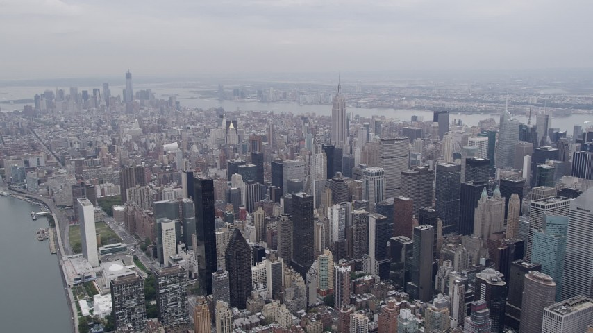 4K stock footage aerial video Flying by Midtown Manhattan, Lower Manhattan, New York, New York Aerial Stock Footage | AX84_069