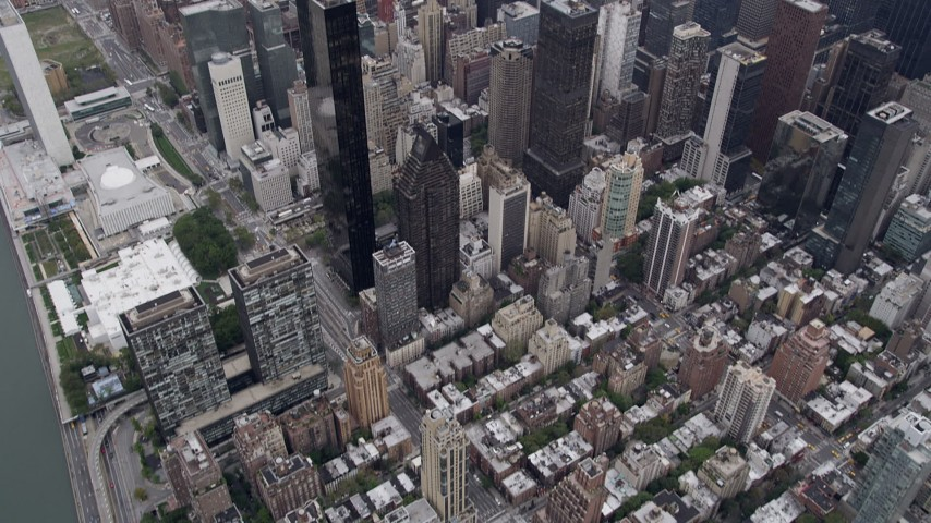 4K stock footage aerial video of Midtown Manhattan, Chrysler Building, Empire State Building, New York Aerial Stock Footage | AX84_070