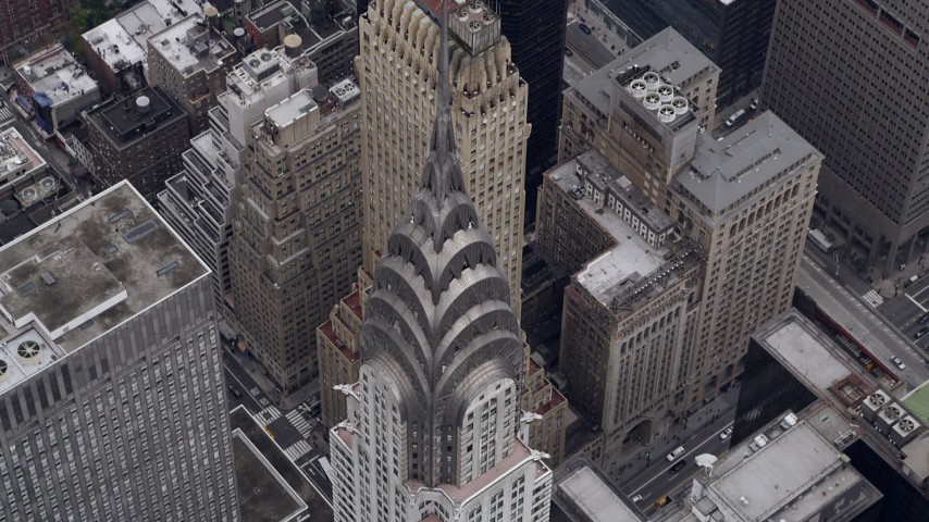 5k aerial video Bird's eye view of top of Chrysler Building, Midtown Manhattan, New York, New York Aerial Stock Footage AX84_073