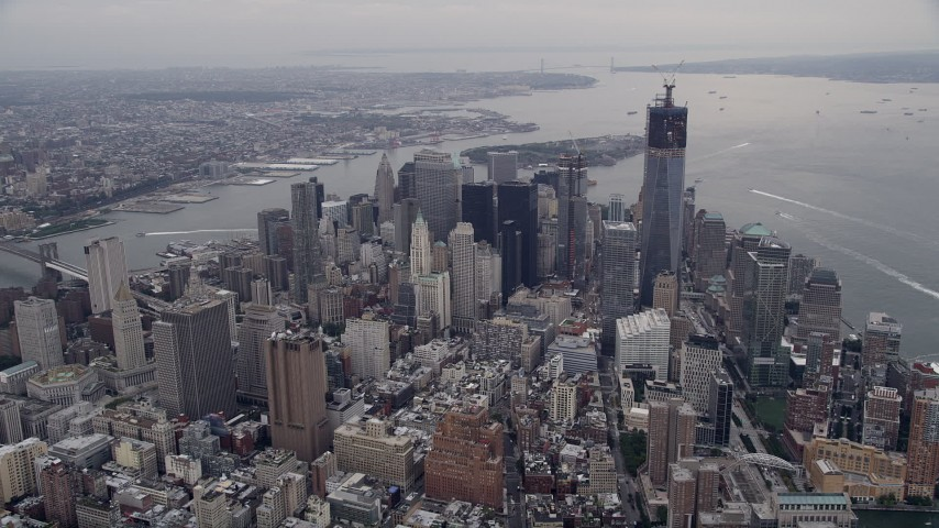 4K stock footage aerial video Approaching Lower Manhattan, New York, New York Aerial Stock Footage AX84_081 | Axiom Images