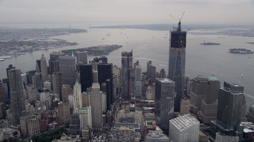 4K stock footage aerial video Approaching Lower Manhattan, Freedom Tower, New York, New York Aerial Stock Footage | AX84_083