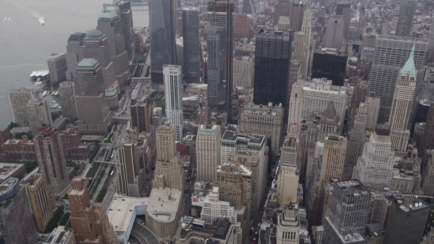 4K stock footage aerial video of Alexander Hamilton Customs House, One World Trade Center, New York, New York Aerial Stock Footage | AX84_088