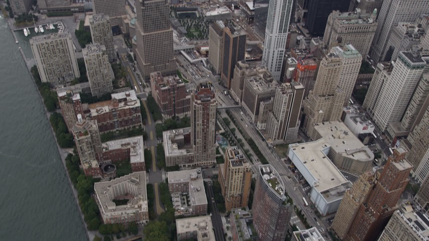 4K stock footage aerial video Flying over Lower Manhattan, reveal One World Trade Center, New York, New York Aerial Stock Footage | AX84_089