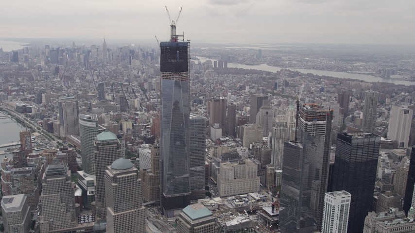4K stock footage aerial video Flying by One World Trade Center, Lower Manhattan, New York, New York Aerial Stock Footage | AX84_090