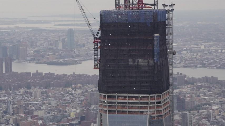 4K stock footage aerial video One World Trade Center, tilt down, Lower Manhattan, New York, New York Aerial Stock Footage | AX84_091