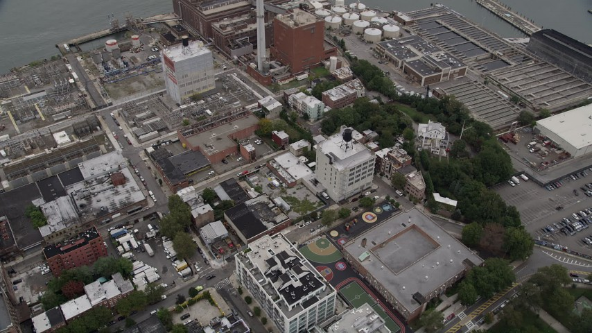 4K stock footage aerial video Flying by Brooklyn power plant, New York, New York Aerial Stock Footage | AX84_120