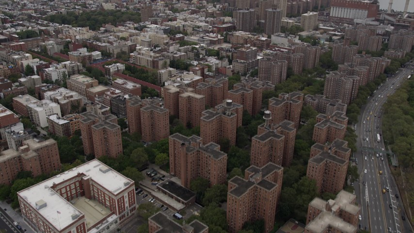 4K Aerial Video Fly over Lower East Side, Midtown Manhattan, Stuyvesant Town, New York Aerial Stock Footage | AX84_128