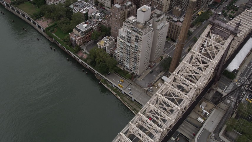 4K Aerial Video Flying by apartments on East River, Midtown Manhattan, New York, New York Aerial Stock Footage | AX84_142