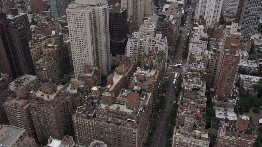 4K Aerial Video of Apartments on bank of East River, reveal Midtown Manhattan, New York, New York Aerial Stock Footage   AX84_143