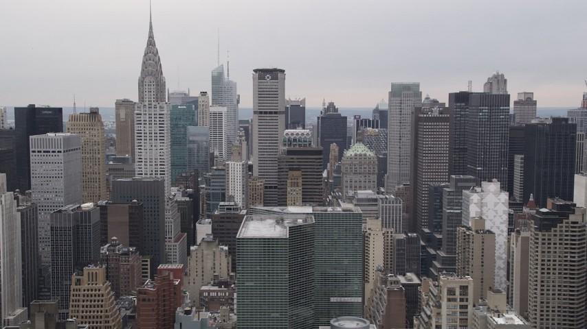 4K Aerial Video Flying by Chrysler Building, Midtown Manhattan skyscrapers, New York, New York Aerial Stock Footage | AX84_146