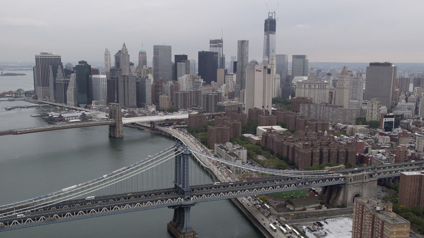 4K Aerial Video of Lower Manhattan skyline, Brooklyn and Manhattan Bridges, New York, New York Aerial Stock Footage | AX84_155