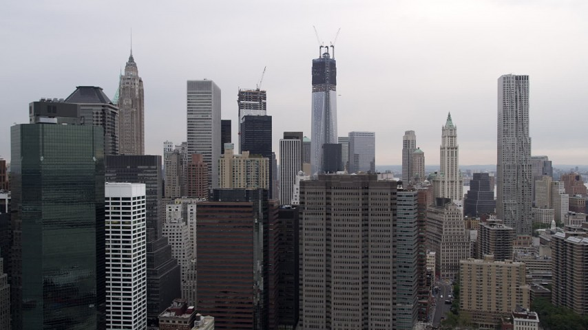4K Aerial Video Flying by Lower Manhattan skyscrapers, New York, New York Aerial Stock Footage | AX84_158