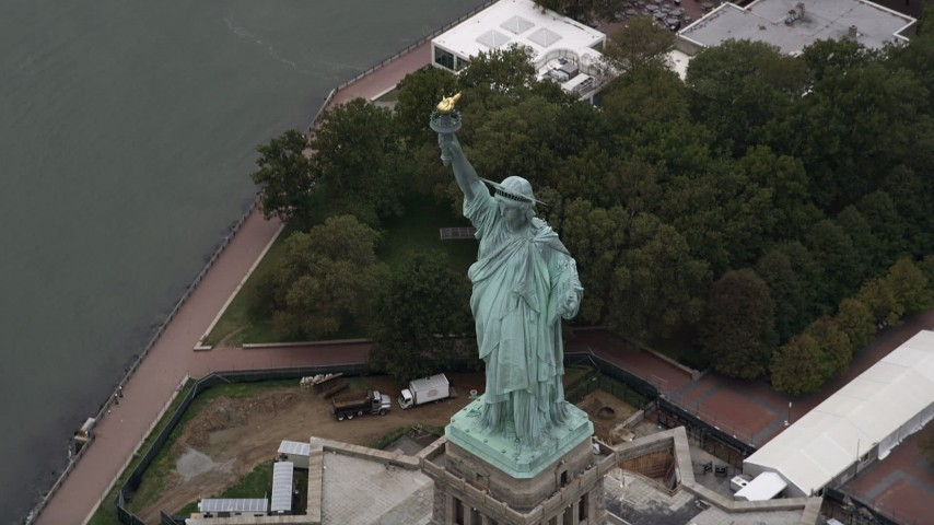 4K Aerial Video of the Statue of Liberty, Liberty Island, New York Harbor, New York, New York Aerial Stock Footage | AX84_167
