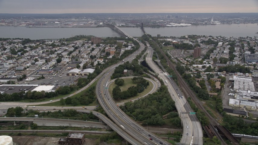 4K Aerial Video Flying over New Jersey Turnpike, Jersey City, New Jersey Aerial Stock Footage | AX84_169