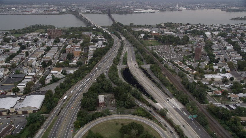 4K Aerial Video Flying over New Jersey Turnpike, Jersey City, New Jersey Aerial Stock Footage | AX84_170