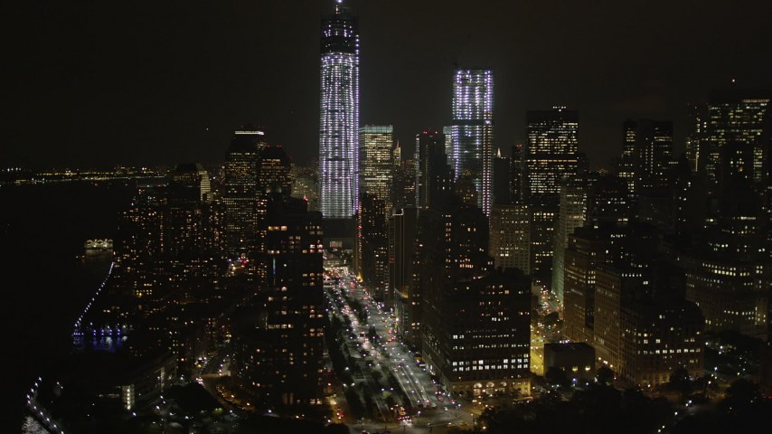 4K stock footage aerial video of Freedom Tower, World Trade Center, Lower Manhattan, New York, New York, night Aerial Stock Footage | AX85_013