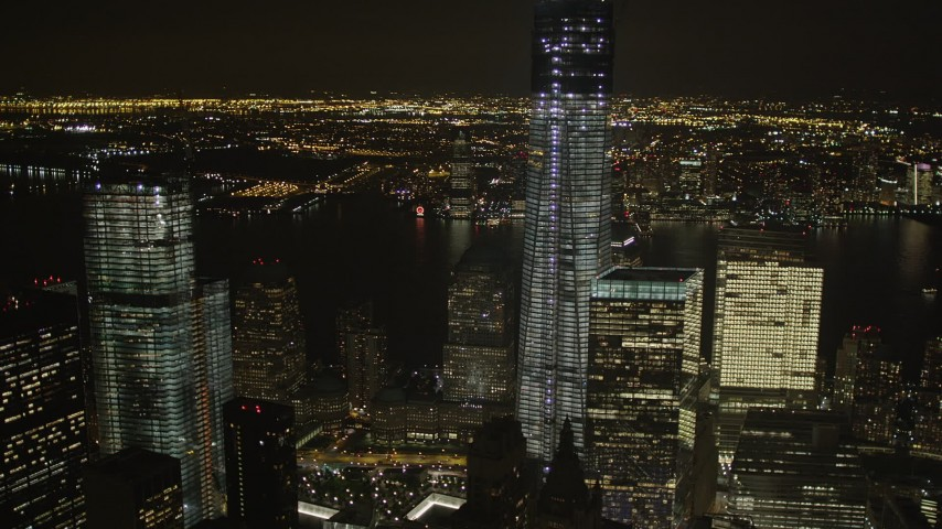 4K stock footage aerial video of Freedom Tower, World Trade Center, Lower Manhattan, New York, New York, night Aerial Stock Footage | AX85_017