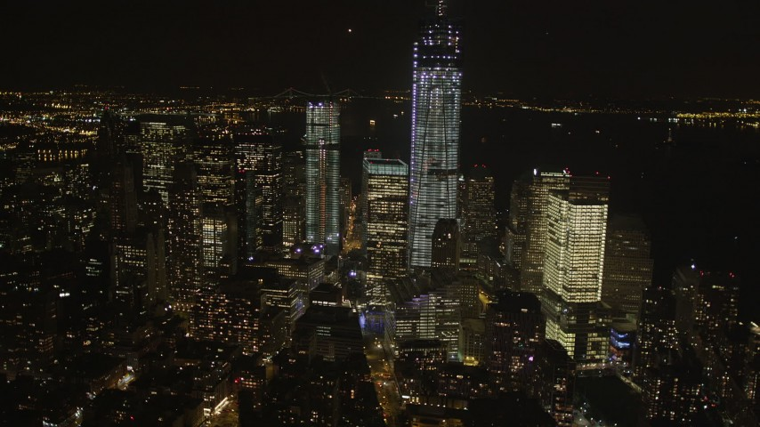 4K stock footage aerial video of Freedom Tower, World Trade Center, Lower Manhattan, New York, New York, night Aerial Stock Footage | AX85_020