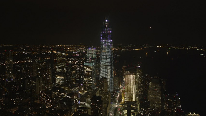 4K stock footage aerial video of Freedom Tower, World Trade Center, Lower Manhattan, New York, New York, night Aerial Stock Footage | AX85_021