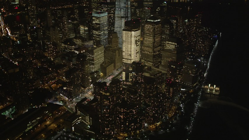 4K stock footage aerial video of Freedom Tower, World Trade Center, Lower Manhattan, New York, New York, night Aerial Stock Footage | AX85_022