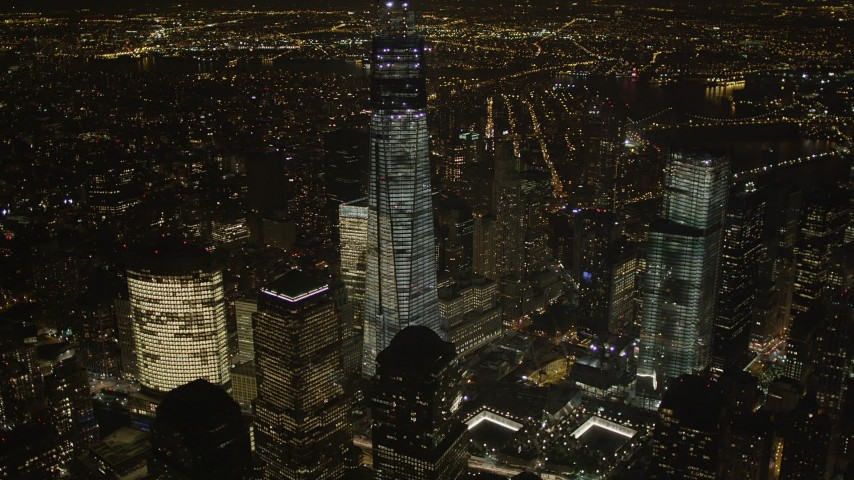 4K stock footage aerial video of World Trade Center skyscrapers, Lower Manhattan, New York, New York, night Aerial Stock Footage | AX85_025