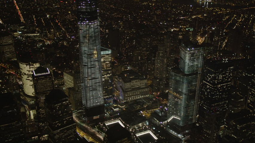 4K stock footage aerial video of World Trade Center skyscrapers, Lower Manhattan, New York, New York, night Aerial Stock Footage | AX85_026
