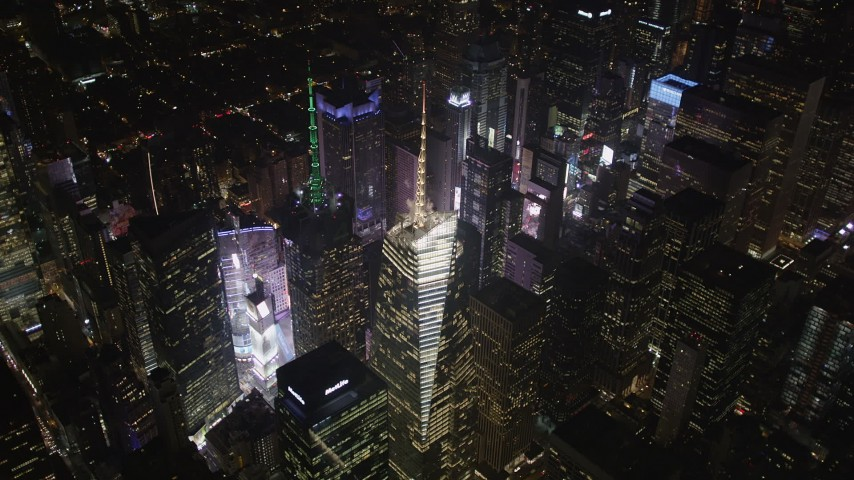 4K stock footage aerial video Times Square, skyscrapers, Midtown Manhattan, New York, New York, night Aerial Stock Footage | AX85_039