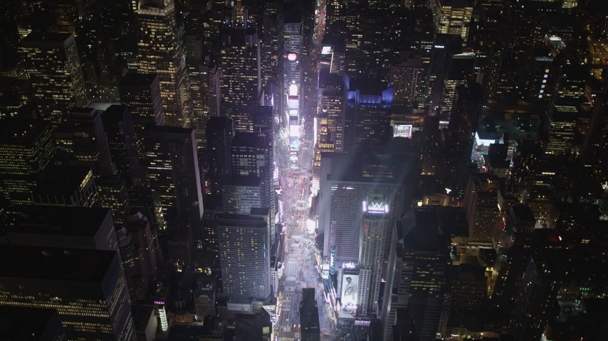4K aerial video Approaching Times Square, Midtown Manhattan, New York, New York, night Aerial Stock Footage | AX85_044