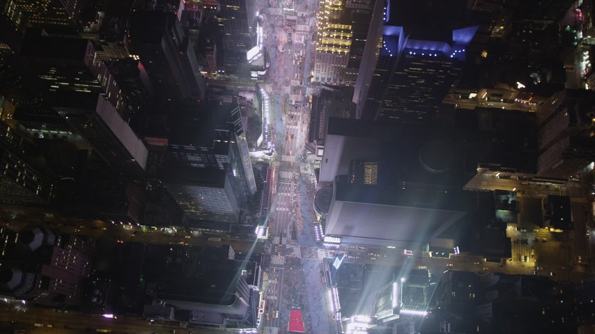 4K stock footage aerial video Bird's eye view of Times Square, Midtown Manhattan, New York, New York, night Aerial Stock Footage | AX85_045