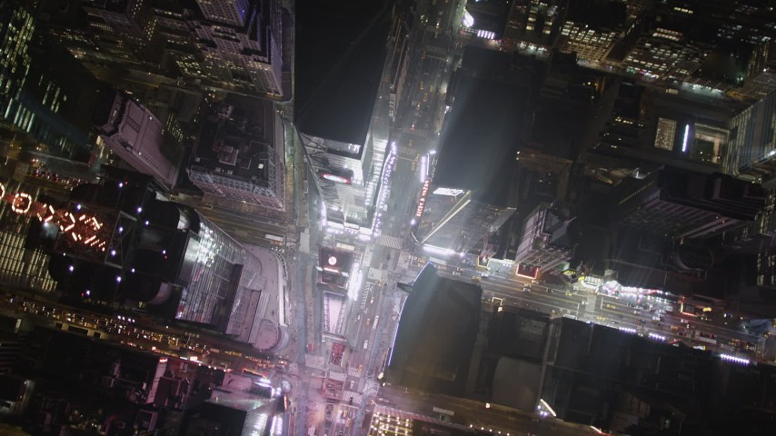 4K stock footage aerial video Bird's eye view over Times Square, Midtown Manhattan, New York, New York, night Aerial Stock Footage | AX85_046