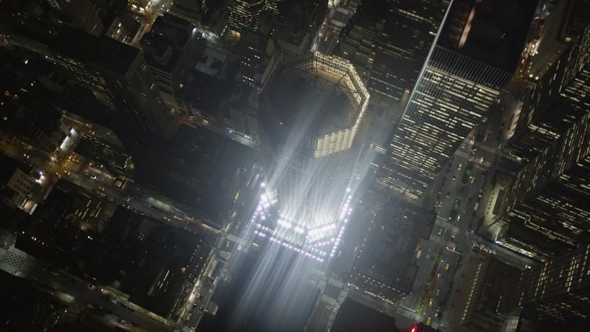 4K stock footage aerial video 383 Madison Avenue, Midtown Manhattan, New York, New York, night Aerial Stock Footage | AX85_064